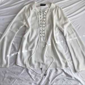 Nastygal Long Sleeve White Sheer Lace Up Blouse